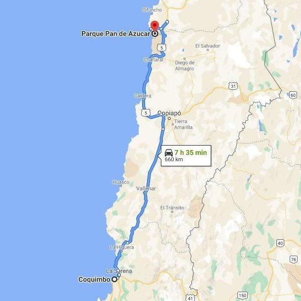Mapa de las Regiones de Coquimbo y Atacama - Ruta Coquimbo - Parque Nacional Pan de Azúcar - 660 kms.